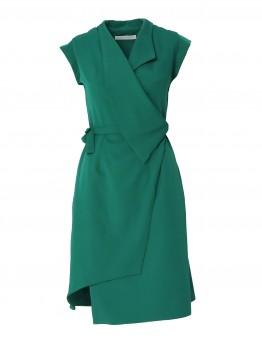 Rochie verde cu tiv si guler asimetric