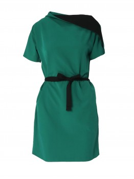Rochie bicolor cu maneca scurta