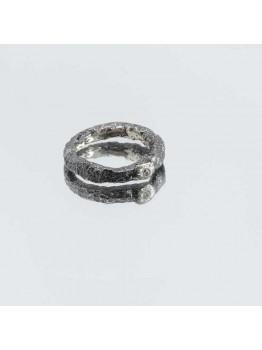 Inel tip verigheta din argint, unicat, texturat, c...