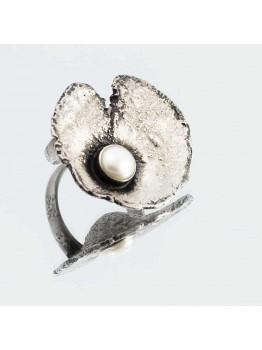 Inel unicat, din argint si perla de cultura