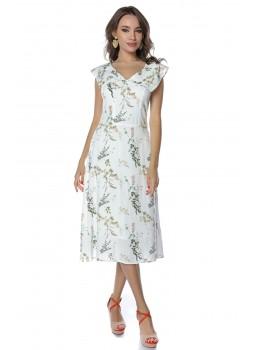 Rochie cu imprimeu floral si guler amplu