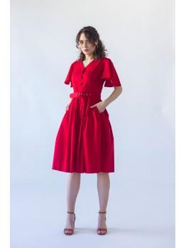 Rochie cu maneci evazate si curea