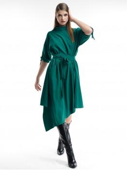 Rochie verde cu guler oversize