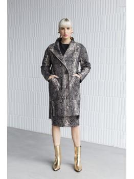 Palton oversize animal print