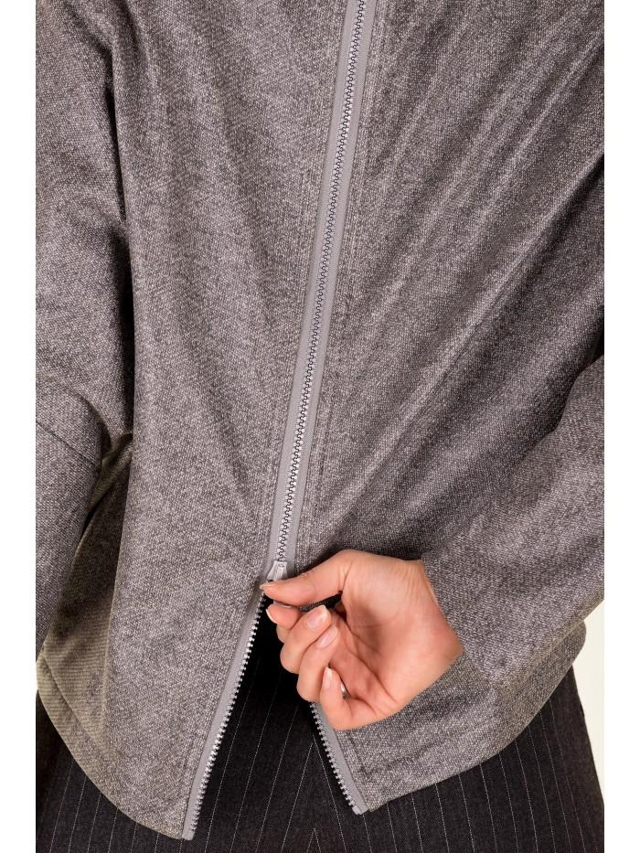 Bluza gri cu fermoar pe spate