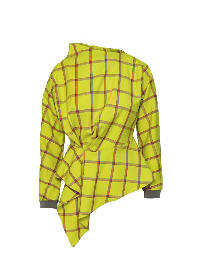 Bluza galbena cu guler asimteric