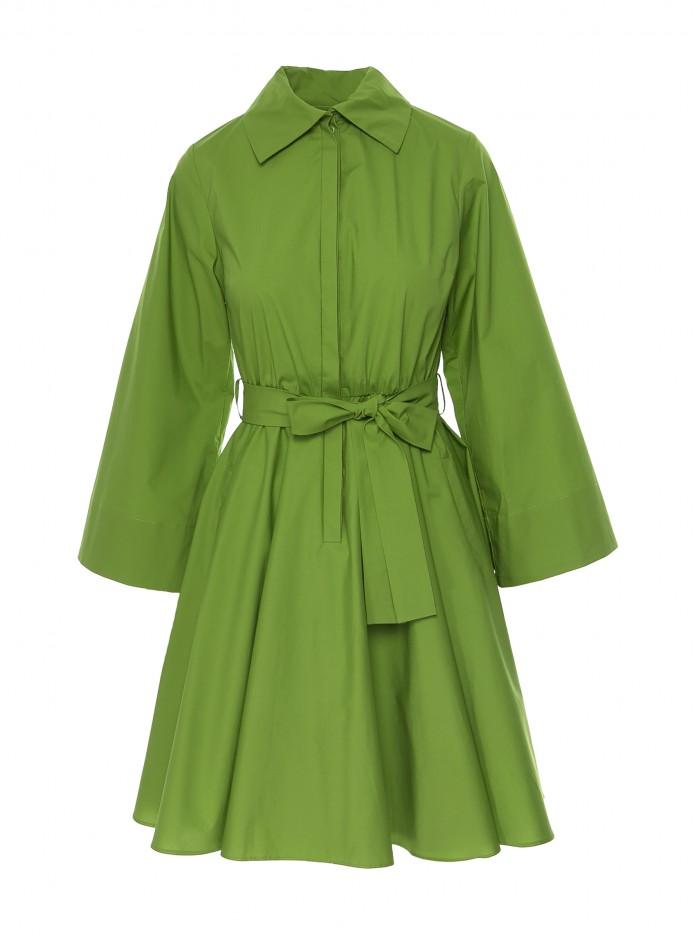 Rochie verde cu buzunare si guler