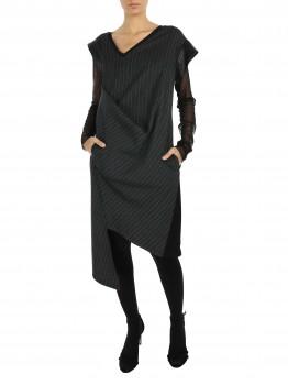 Rochie gri asimetrica din stofa cu dungi