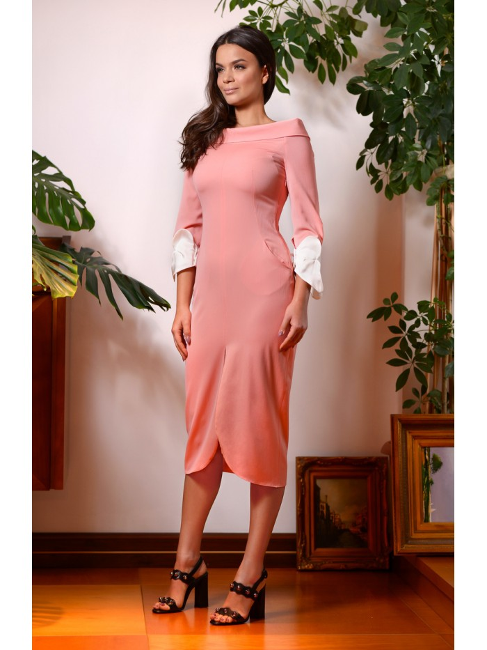 Comma Dress (Wide Neck Tube Dress with Silk Cuffs)
