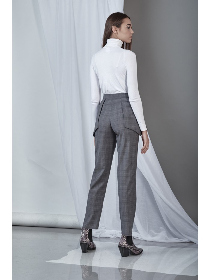 Sharp Pants (Check Wool Straight-Leg Pants)