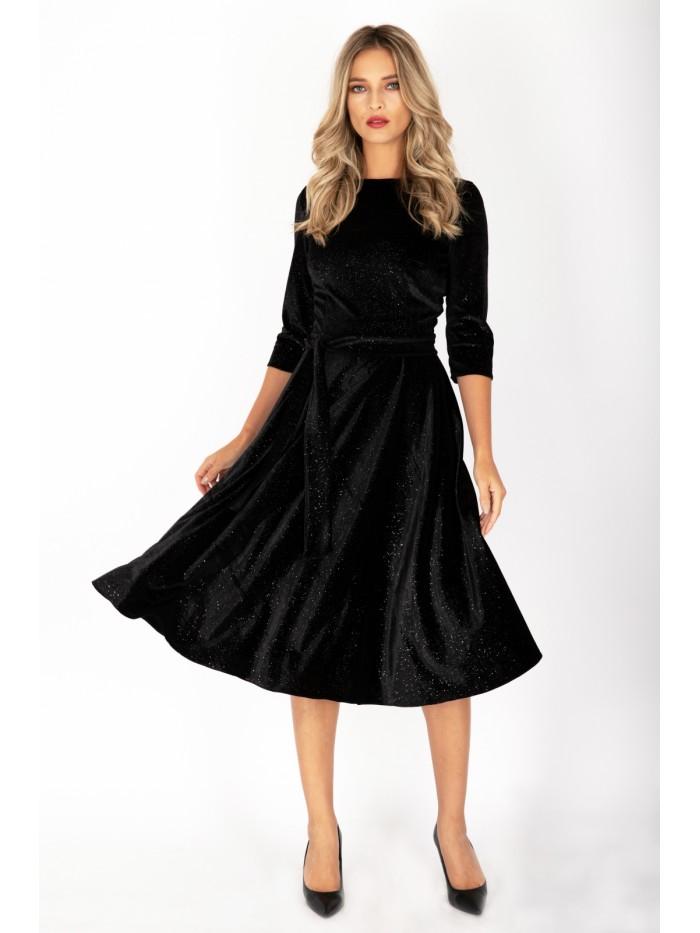 Rochie neagra din catifea cu sclipici