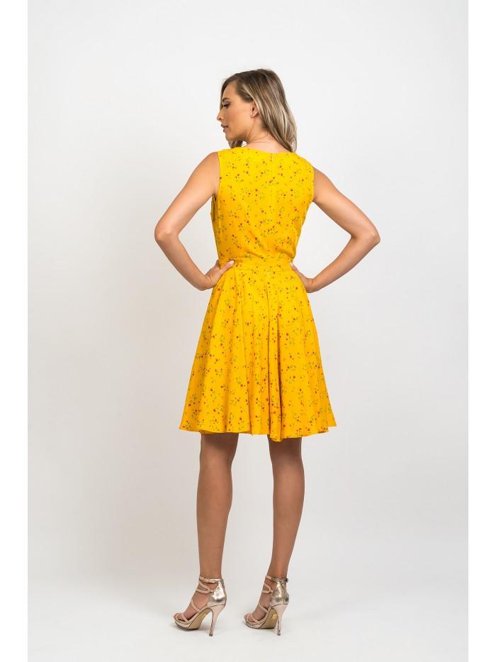 Rochie midi, clos, de culoare galbena