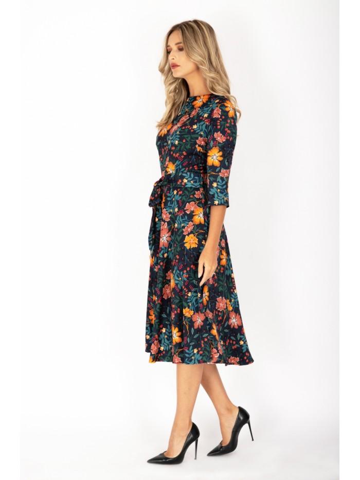 Rochie prin floral lungime medie