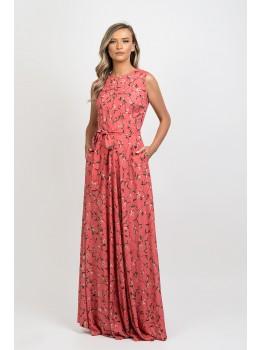 Rochie lunga, evazata cu imprimeu floral