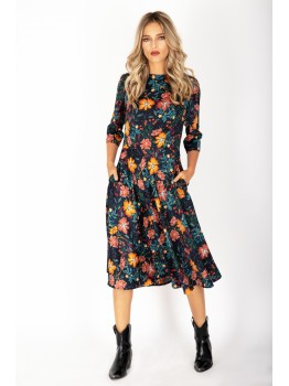 Rochie prin floral lungime medie