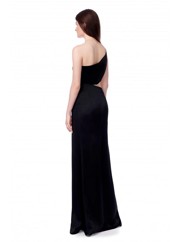 Rochie lunga neagra de seara din satin