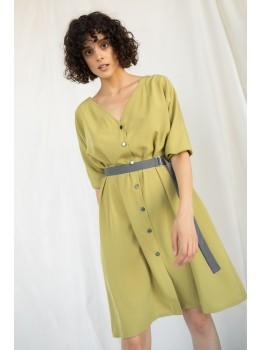 Rochie midi, de culoare olive