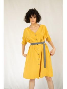Rochie din material ecologic, culoare mustar