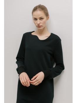Rochie neagra cu decolteu asimetric