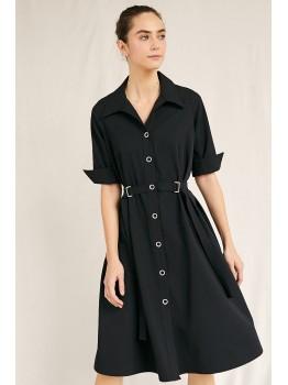Rochie neagra cu cordon in talie